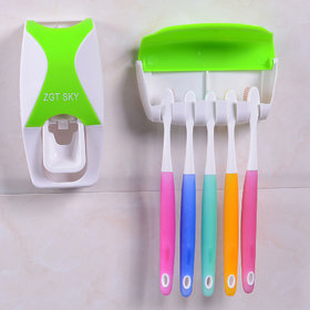 VS - Automatic Toothpaste Dispenser (GREEN) with 5 Toothbrush Holder Set (Color - GREEN)