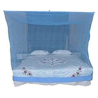 Shahji Creation Polyester King Size Bed HDPE Mosquito Net Blue (6X7 Feet)