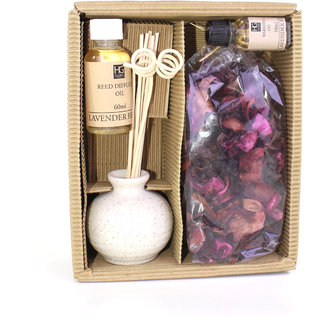 Hosley Lavender Fields Ceramic Reed Diffuser with Oil  Potpourri