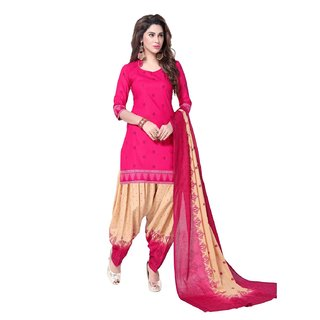 SALWAR HOUSE Cotton Printed Pink Salwar Suit Dupatta (Un-stitched)
