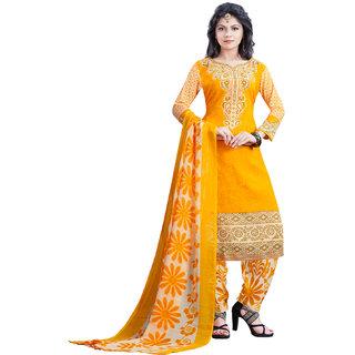 SALWAR HOUSE Crepe Fabric Printed Yellow Salwar Suit Dupatta (Un-stitched)