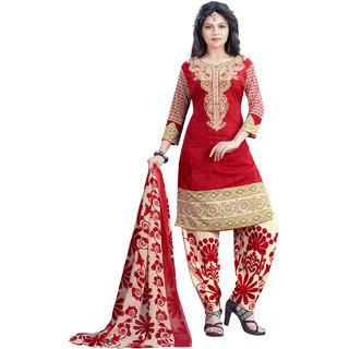 SALWAR HOUSE Crepe Fabric Printed Red Salwar Suit Dupatta (Un-stitched)