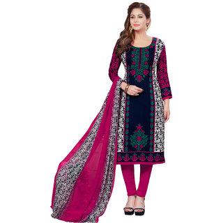 SALWAR HOUSE Crepe Fabric Printed Blue Salwar Suit Dupatta (Un-stitched)