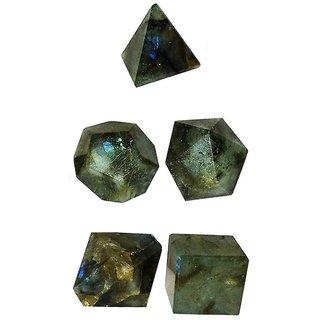 Labradorite Stone Platonic Solids Sacred 5 Five Geometry Set