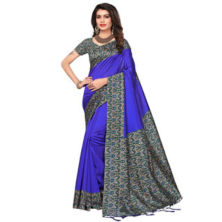 Swaron Blue Colored Print Poly silk Saree with Unstitched Blouse