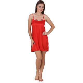 Temfen Red Color Short satin Nighty Baby Doll