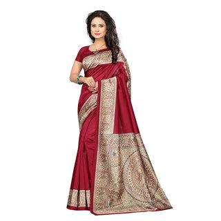 Meia Maroon Colored Kalamkari Print Poly silk Saree with Unstitched Blouse