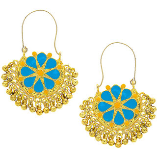 Anuradha Art Gold Finish Blue Colour Mina Styled Adorable Designer Hoop Earrings For Women/Girls