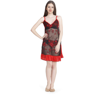 Temfen Red Satin Baby Doll Transprant Dress With Panty