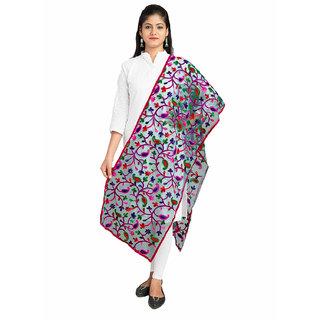 Lionize Women's Net Embroidery Dupatta (Sea Green)