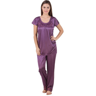 Temfen Purple color satin Full Night suit