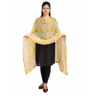 Lionize Woman's Jute Silk Dupatta with Golden Strips (Golden)
