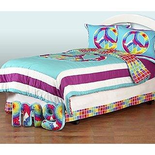 One Grace Place Terrific Tie Dye Twin Bedding Set, 6 Piece
