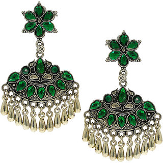 Anuradha Art Green Colour Very Classy Party Wear Wonderful Designer Oxidised Long Earrings For Women/Girls