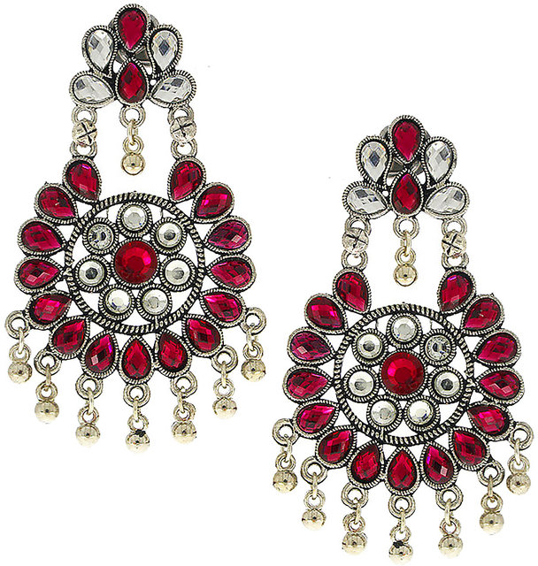 Anuradha Art Silver Finish Studded Stone Designer Trendy Traditional Party Wear Long Earrings For Women//Girls