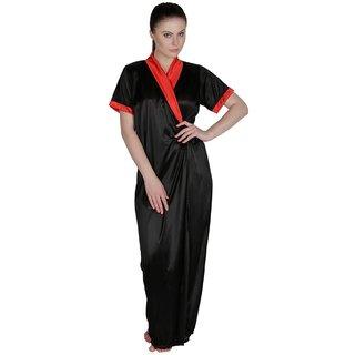 Temfen Black Satin Full Robe