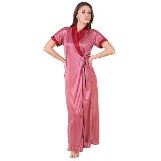 Temfen Peach-puff Satin Full Robe Nighty