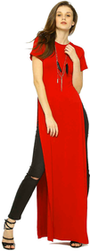 Meia Red High Slit Polyester Synthetic Maxi Top