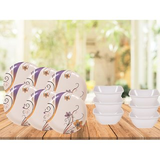 PALMS Binny Dinner set Pack of 12 Printed Plates & Veg Bowl High Quality Melamine- (Food grade safe Stain proof)