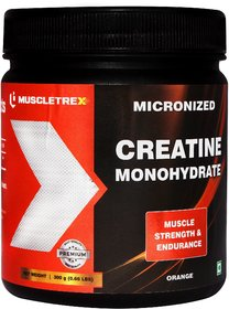 Muscletrex Micronized Creatine Monohydrate Powder, Orange - 300gm (0.66 lbs)