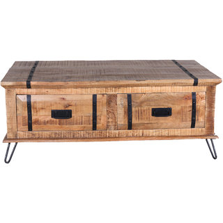 Jaitex Exports Black And Brown Color Wooden Coffee Table With 2 Drawers
