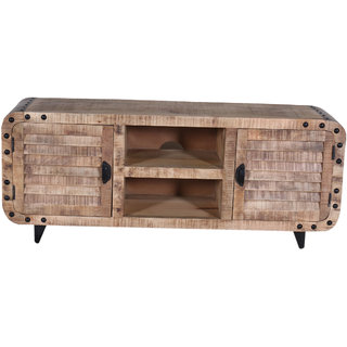 Jaitex Exports Black And Brown Color Wooden TV Unit With 1 Shelf And 4 Boxes