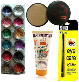Vozwa 12 in 1 Glitter, 1 Compact Powder, 1 Scrub , 1 Eye care kajal