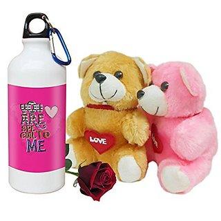 Sky Trends Valentine Combo Gift Set Printed Sipper Bottle Soft teddy Artificial Rose Best Gift For Girlfriend Wife Boyfriend Husband Friend STG-001