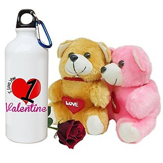Sky Trends Valentine Combo Gift Set Printed Sipper Bottle Soft teddy Artificial Rose Best Gift For Girlfriend Wife Boyfriend Husband Friend STG-010