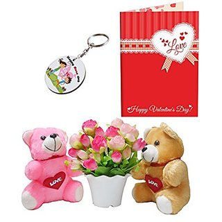 Sky Trends Valentine Combo Gift For Girlfriend Printed Keychain Greeting card Artificial Flower Soft teddy With Plastic Poat Gift For Kiss Day Propose day Promise Day Hug Day Rose Day Gifts