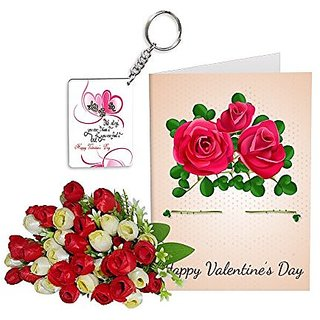 Sky Trends Best Wife Valentine Day Gifts Combo Greeting Card, Artificial Flowers Bunch and Keychain Girlfriend Fiance Birthday Anniversary Gifts Rose Day Gifts Promise Gifts 013