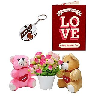 Sky Trends Valentine Combo Gift For Boyfriend Printed Keychain Greeting card Artificial Flower Soft teddy With Plastic Poat Gift For Kiss Day Propose day Promise Day Hug Day Rose Day Gifts