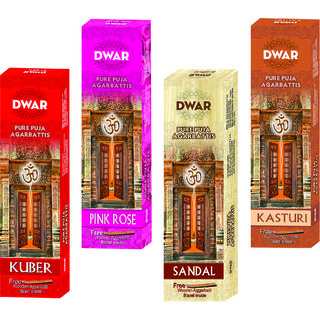 Dwar Agarbatti Combo of 4 Kuber, Pink Rose, Sandal, Kasturi- 100 Sticks each-With Free Stand in each Pack