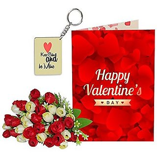 Sky Trends Best Wife Valentine Day Gifts Combo Greeting Card, Artificial Flowers Bunch and Keychain Girlfriend Fiance Birthday Anniversary Gifts Rose Day Gifts Promise Gifts 037