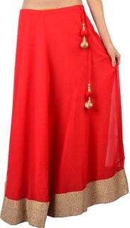 Klick2Style Red Plain Flared Skirts