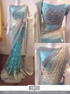 Srk White and Skyblue Colour net Embroidered Saree KT-3197