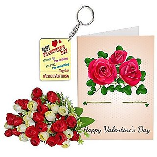 Sky Trends Best Wife Valentine Day Gifts Combo Greeting Card, Artificial Flowers Bunch and Keychain Girlfriend Fiance Birthday Anniversary Gifts Rose Day Gifts Promise Gifts 081