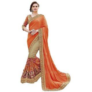e96426a3f1a Buy Zofey Bollywood Designer Sarees Orange Georgette Saree Online ...