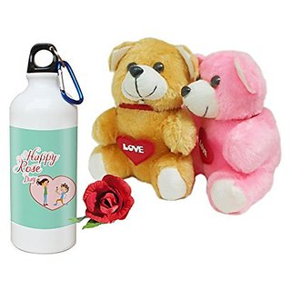 Sky Trends Valentine Combo Gift For Wife Printed Sipper Bottle Soft Teddys Artificial Rose Gift For Kiss Day Propose day Promise Day Hug Day Rose Day Gifts