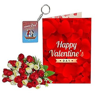 Sky Trends Best Wife Valentine Day Gifts Combo Greeting Card, Artificial Flowers Bunch and Keychain Girlfriend Fiance Birthday Anniversary Gifts Rose Day Gifts Promise Gifts 043