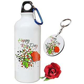 Sky Trends Valentine Combo Gift For Friend Printed Sipper Bottle Keychain Artificial Rose Gift For Kiss Day Propose day Promise Day Hug Day Rose Day Gifts