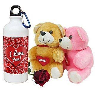 Sky Trends Valentine Combo Gift Set Printed Sipper Bottle Soft teddy Artificial Rose Best Gift For Girlfriend Wife Boyfriend Husband Friend STG-017