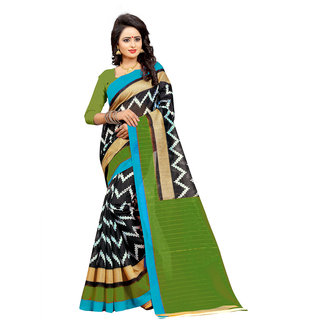 The Shopoholic Women's Black-Green New Collection Of Sarees