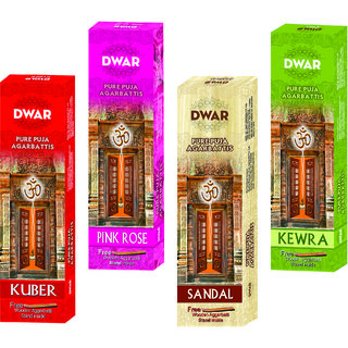 Dwar Agarbatti Combo of 4 Kuber Pink Rose Sandal Kewra- 100 Sticks each-With Free Stand in each Pack
