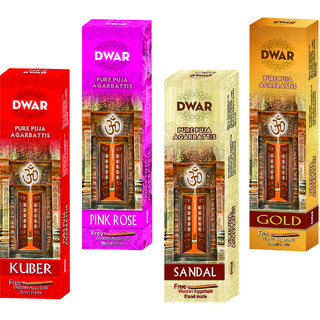 Dwar Agarbatti Combo of 4 Kuber Pink Rose Sandal Gold- 100 Sticks each-With Free Stand in each Pack