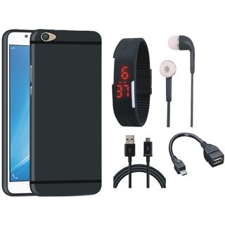 Redmi Note 3 Soft Silicon Slim Fit Back Cover with Digital Watch, Earphones, OTG Cable and USB Cable
