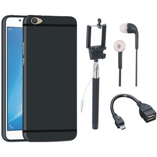 Redmi Note 3 Soft Silicon Slim Fit Back Cover with Selfie Stick, Earphones and OTG Cable