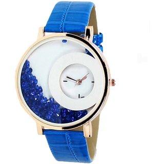 Mxre Blue Lather Belt Diamond Watch Golden Case White Dial Women Watch Girl Watch Ladies Watch vjzone V J Zone