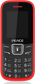 Peace FM1 Feature Mobile Phone-Red+Black (Dual SIM/ 850 mAh Battery/ 16GB Expandable Storage/ 1.8 Inch Display)