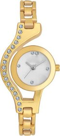 The Shopoholic Round Dial Gold Strap Analog Watch For W